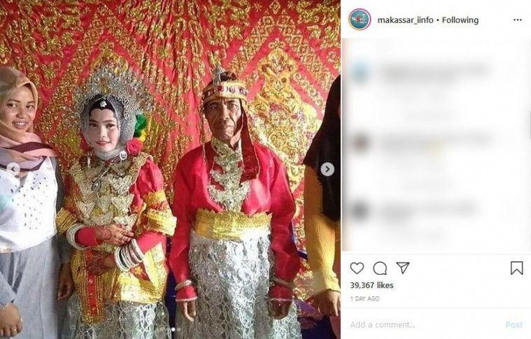 Viral Duda 60 Tahun di Sulsel Nikahi Gadis Cantik 21 Tahun, Netizen: Saya Gagal Jadi Anak Muda