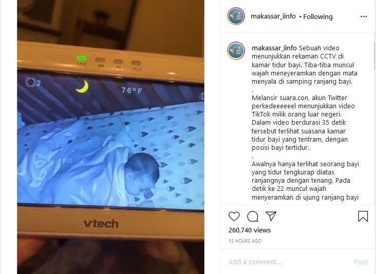 Viral Rekaman CCTV Bayi Tidur Ada Penampakan Menakutkan, Makhluk Apa Ini?